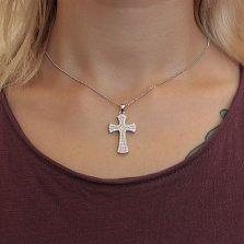 Серебряный крест Рассветный в усыпке белых фианитов