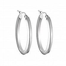 Серебряные серьги-кольца Ободок, диам 35мм