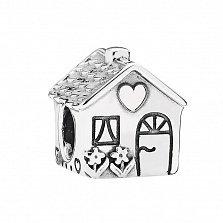 Серебряный шарм Уютный домик с цветами и сердечком в стиле Пандора