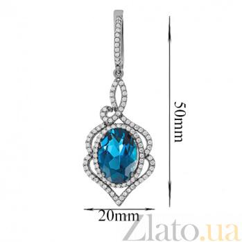 Серебряные серьги с кварцем London blue Василиса 000029250