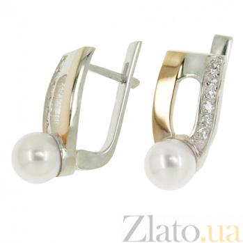 Серебряные сережки Румба с золотыми вставками, жемчугом и фианитами BGS--428с
