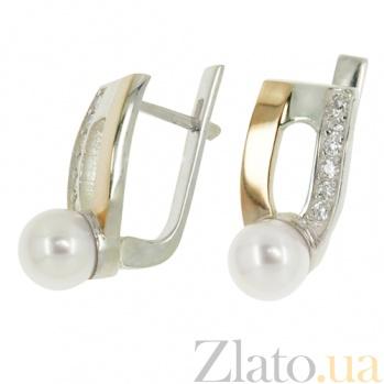 Серебряные сережки с жемчугом Румба BGS--428с