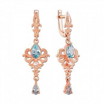 Серьги-подвески из красного золота с голубыми топазами и фианитами 000106208