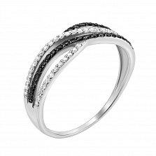 Золотое кольцо Сандра в белом цвете с дорожками белых и черных бриллиантов