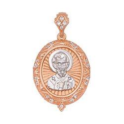 Ладанка из красного золота Николай Чудотворец с фианитами 000103935