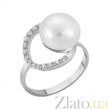 Кольцо из белого золота с жемчугом и фианитами Морская фея 000023206