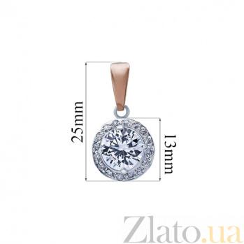 Серебряный кулон с золотом и фианитом Аланис AQA--Г0111П