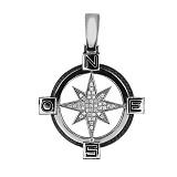 Подвеска Путеводная Звезда из белого золота с цирконием