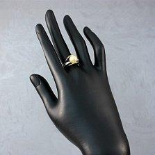 Золотое кольцо Клэр в комбинированном цвете с золотистым жемчугом и бриллиантами