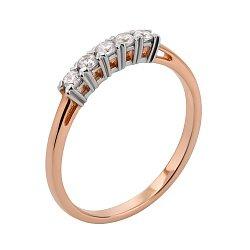 Золотое кольцо в комбинированном цвете с фианитами 000117653