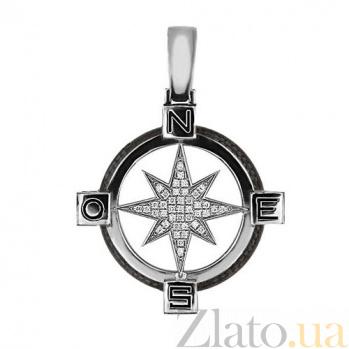 Подвеска Путеводная Звезда из белого золота с цирконием VLT--Т3313