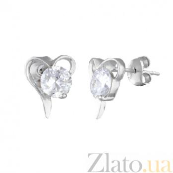 Серебряные сережки с фианитами Муза любви SLX--СК2Ф/418