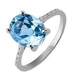 Кольцо из белого золота Океан с голубым топазом и бриллиантами