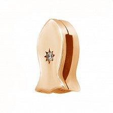 Серебряный шарм Рыбка со звездой в красной цвете с кристаллом циркония