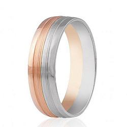 Обручальное кольцо в комбинированном цвете золота с насечками 000001677