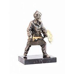 Бронзовая скульптура Сарацин с мечом на обсидиановой подставке 000051971
