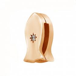 Серебряный шарм Рыбка со звездой в красной цвете с кристаллом циркония 000119247