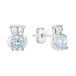 Серьги-пусеты из серебра с фианитами 000150213