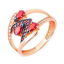 Золотое кольцо в красном цвете Сила дракона фантазийной формы с белыми и красными фианитами