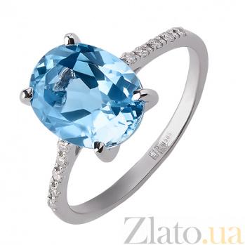 Кольцо из белого золота Океан с голубым топазом и бриллиантами TRF--1221531н/топ