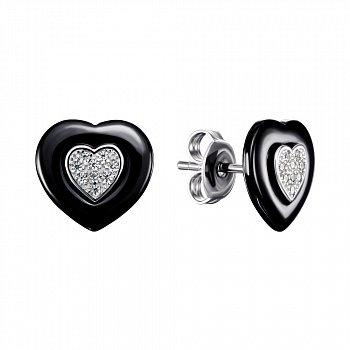 Серебряные серьги-пуссеты с керамикой и фианитами 000148004