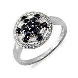 Кольцо Сияние из белого золота с бриллиантами и сапфирами