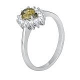 Серебряное кольцо с салатовым фианитом Пенелопа