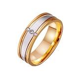 Золотое обручальное кольцо Успех в комбинированном цвете металла с фианитами