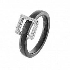Кольцо из черной керамики Цокот с подвижной серебряной вставкой в фианитах