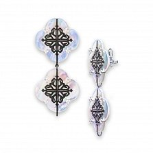 Серебряные серьги-подвески Лакшери из двух цветочков с перламутром и черными фианитами