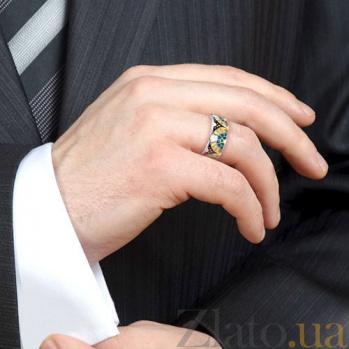 Мужское обручальное кольцо из белого золота Талисман: Счастья 3103