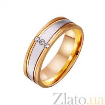 Золотое обручальное кольцо Успех в комбинированном цвете металла с фианитами TRF--412496