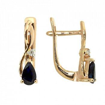Золотые серьги с бриллиантами и сапфирами 000021930