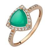 Золотое кольцо Габриэлла с агатом и фианитами
