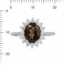 Серебряное кольцо Пелагея с раухтопазом и фианитами