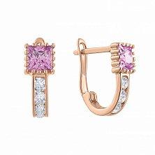 Золотые сережки Красотка с квадратными розовыми и круглыми белыми фианитами