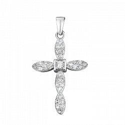 Серебряный декоративный крестик с фианитами 000103067