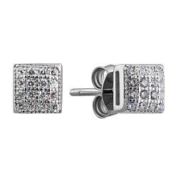 Серебряные серьги-пуссеты с фианитами 000132407