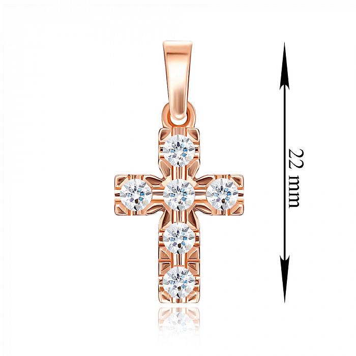 Декоративный крестик из красного золота с кристаллами Swarovski 000134335 000134335
