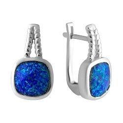 Серебряные серьги с синими опалами 000075617