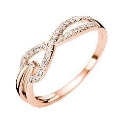 Золотое кольцо в красном цвете с асимметричной шинкой и бриллиантами, 0,13ct 000070666