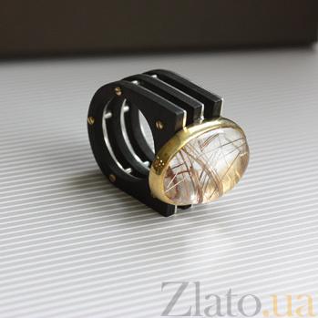 Серебряный перстень Осенний луг с кварцем-волосатиком и эбеновым деревом 000055019