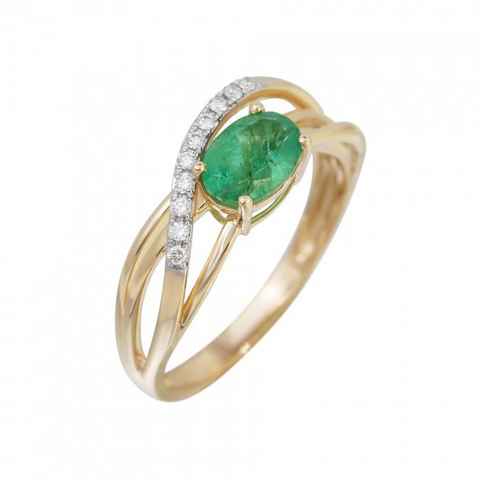 Кольцо из красного золота Мечтательница с изумрудом и бриллиантами 000080975