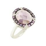 Серебряное кольцо с аметистами и топазами Фиалковый вечер