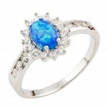 Серебряное кольцо Мойра с голубым опалом и фианитами