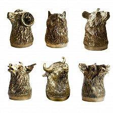 Набор бронзовых рюмок Настоящему охотнику, в форме диких животных в деревяной коробке, 25мл