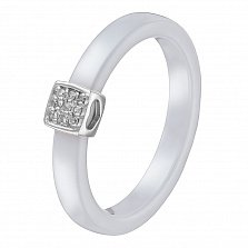 Кольцо в белом золоте Инна с белой керамикой и бриллиантами