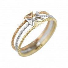 Тройное кольцо из комбинированного золота Стрелки