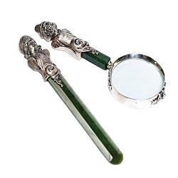 Нож для бумаги и лупа Хлебникова из серебра с нефритом