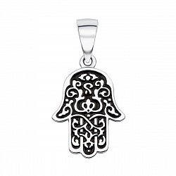 Серебряная подвеска Хамса с черной эмалью 000133654